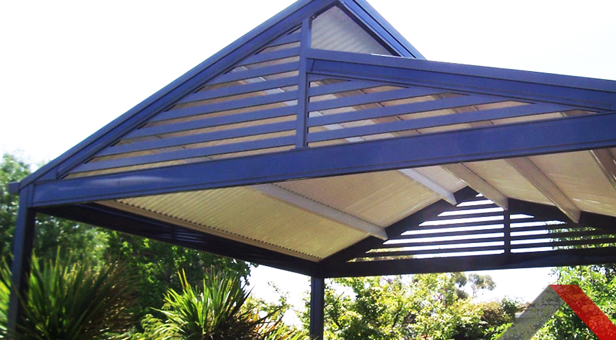 Outdoor pergola with a blue structure