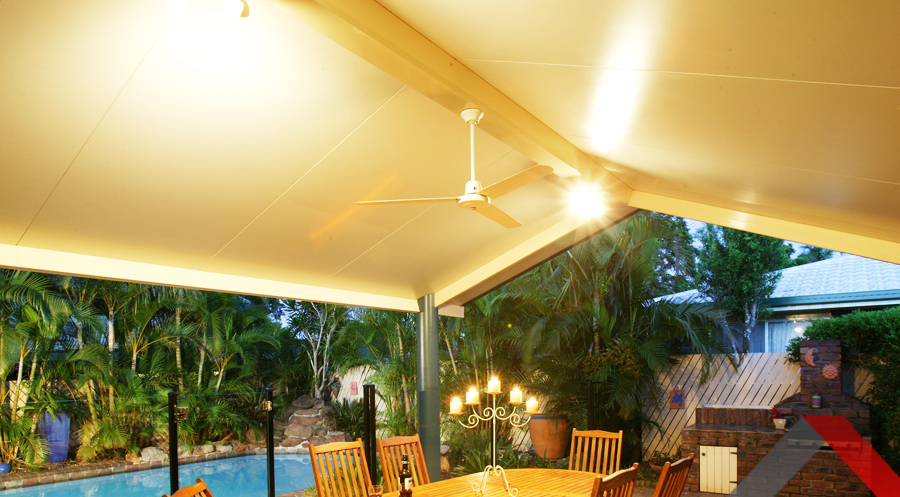 Modern outdoor pergola with lighting